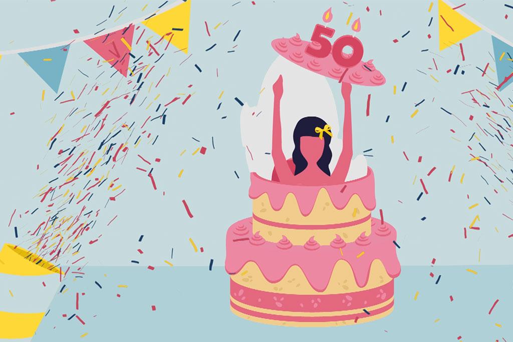Illustratie van een vrouw die uit een taart komt waarmee 50 jaar sociale zekerheid van de zelfstandigen wordt gevierd